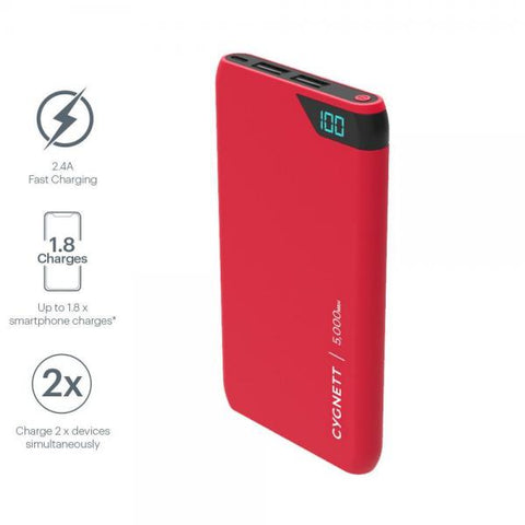 Cygnett ChargeUp Boost 5,000 mAh Power Bank - Red