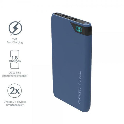 Cygnett ChargeUp Boost 5,000 mAh Power Bank - Navy Blue