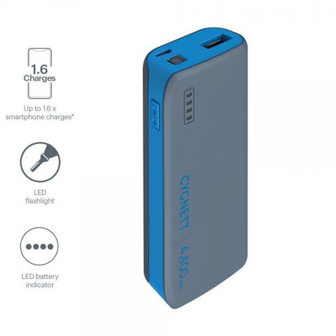 Cygnett 4,400mAh Power Bank - Blue/Grey