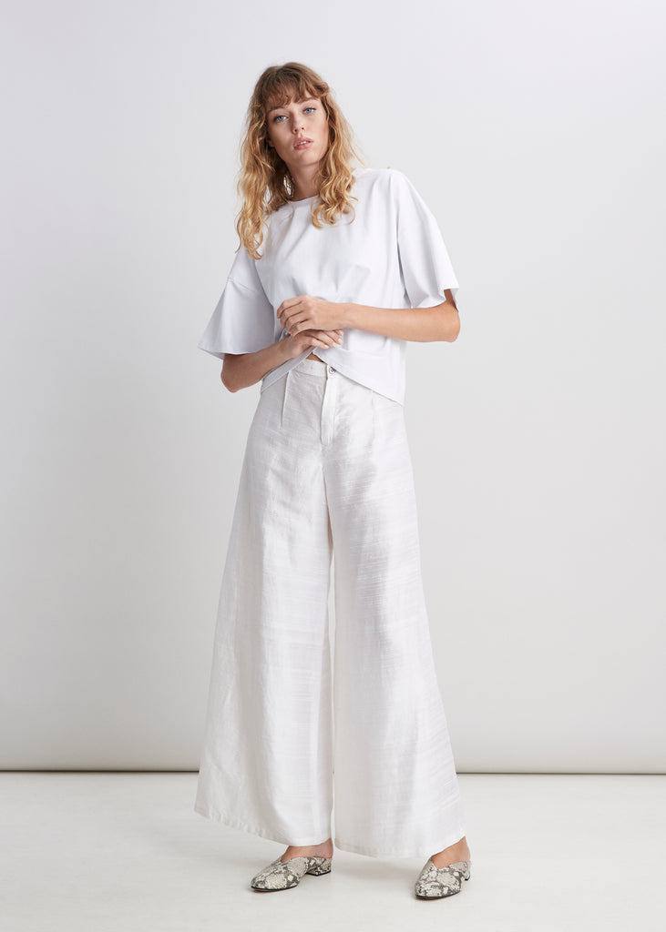 White Raw Silk Trouser