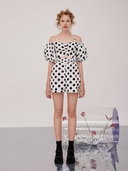 Retro Puff Sleeve Polka Dot Jumpsuit