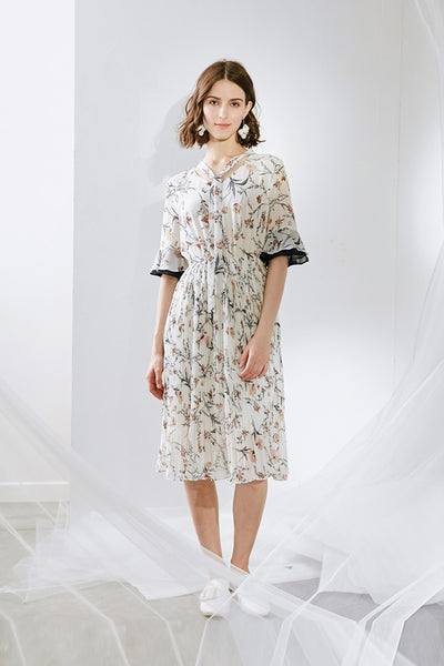 Designer Hand-pick Floral Dress