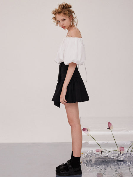Black Pleated Irregular Skirt