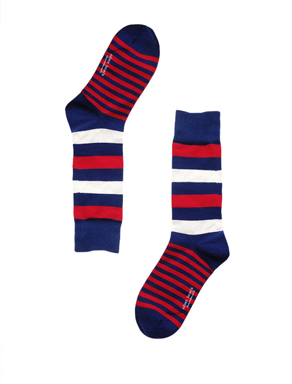 Red, White And Navy Striped Socks
