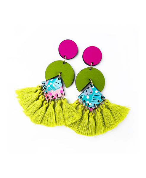 Bee Circus Drop Earrings Apple Green Tassels