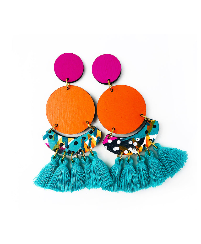 Bee Kirby Drop Earrings Coral Sea Blue Tassels