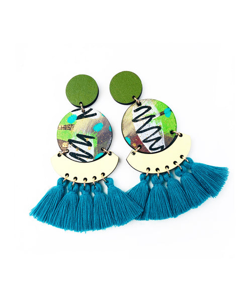 Bee Kirby Drop Earrings Deep Lagoon Green Tassels