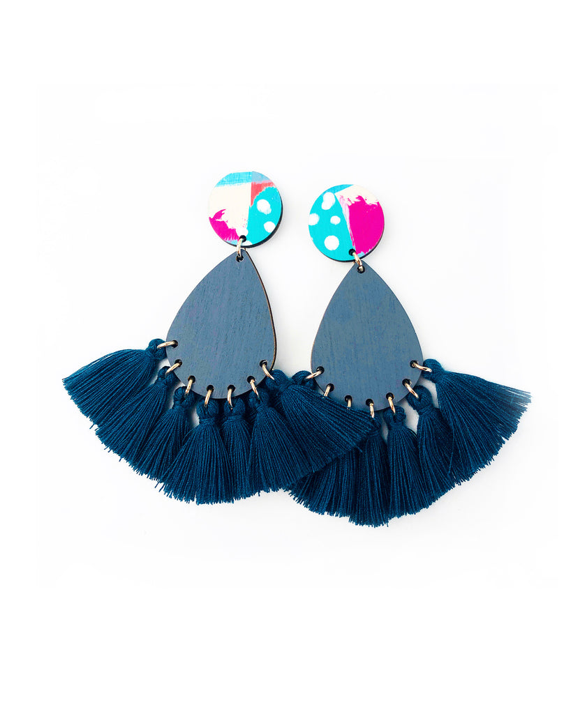 BEE Carmody Drop Earrings Deep Teal Tassels
