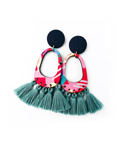 Bee Aren Drop Earrings Dusty Mint Tassels