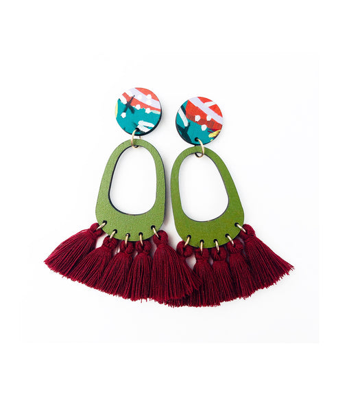 Bee Aren Drop Earrings Jarrah Tassels