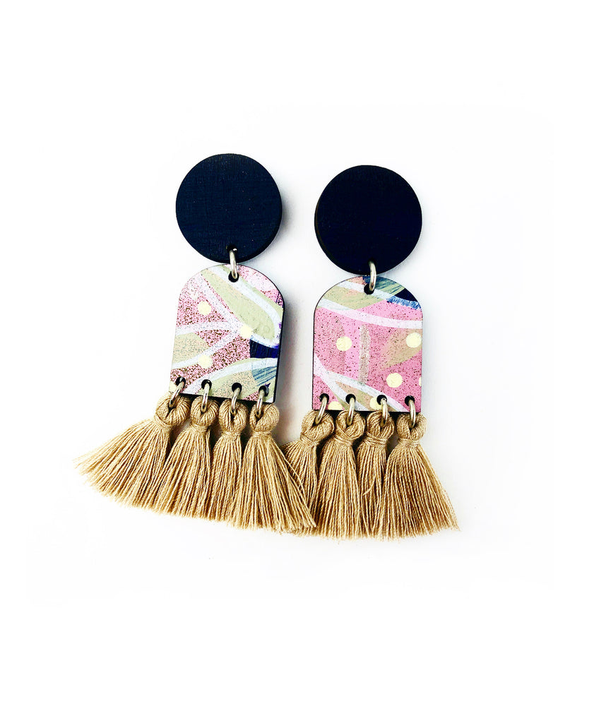 BEE Verity Drop Earrings Kookaburra Brown Tassels
