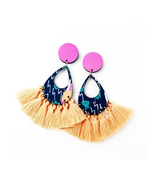 Bee Aren Drop Earrings Nude Sunbake Tassels