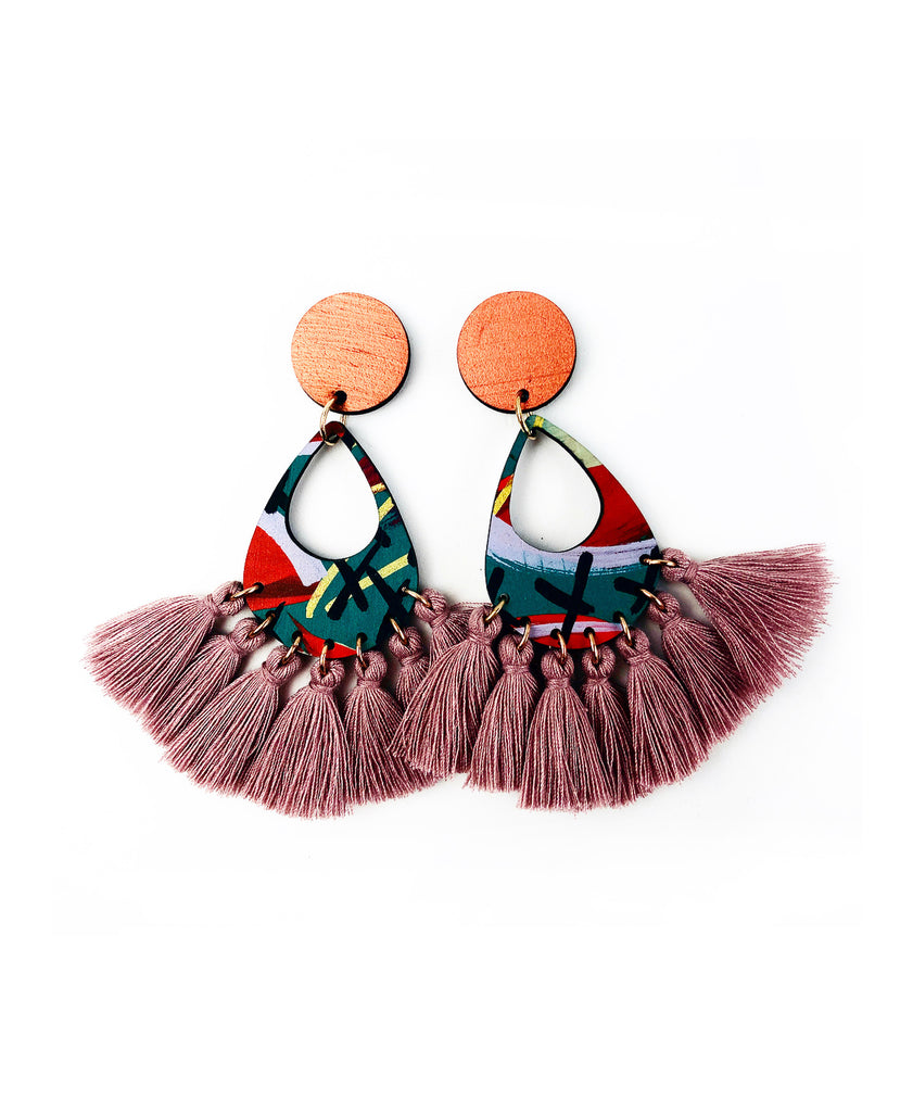 Bee Aren Drop Earrings Pink Clay Tassels