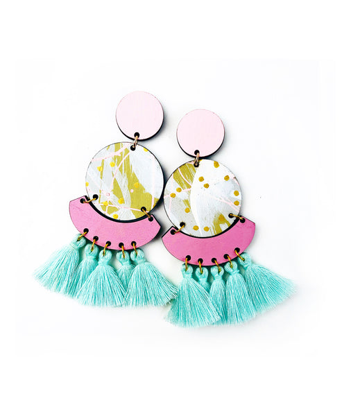 Bee Kirby Drop Earrings Sea Foam Blue Tassels