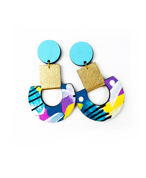 BEE Calder Drop Earrings Patterned