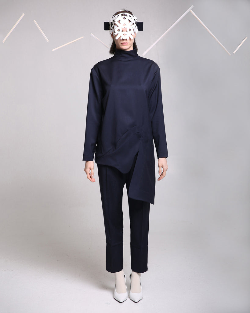 Navy Blue Wool Blouse
