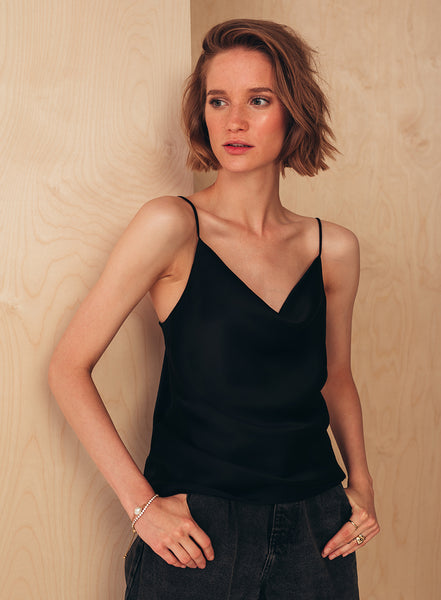 Camisole Top with Draped Detail Black