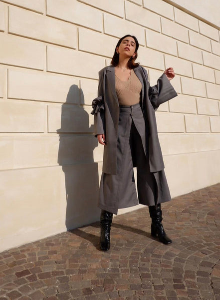 Chic Flair Grey Coat - @vanessascicchitano