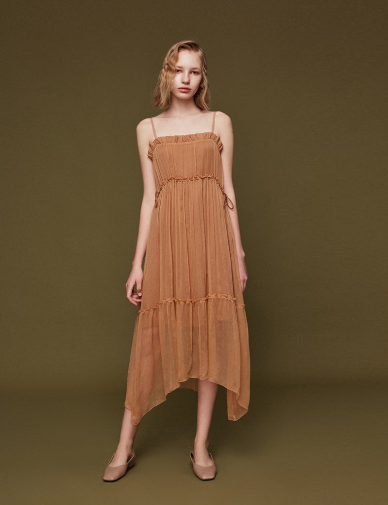 Silk Slip Dress with Draped Detail
