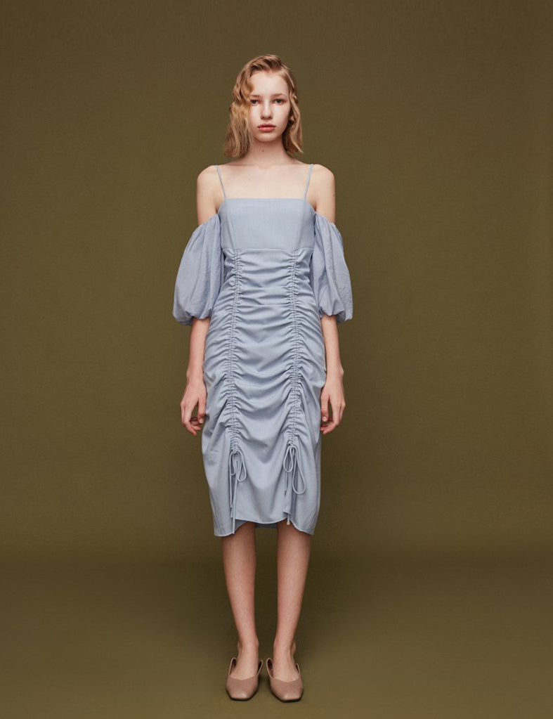 Draped Open-Shoulder Dress