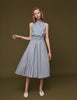 Pleats Panelled Dress with Metal Ring Belt