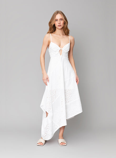 Embroidered Cotton-Poplin Dress