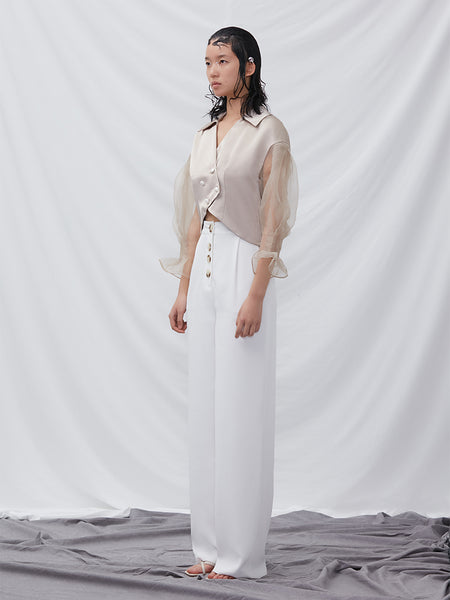 Acetic Top With Puff Sleeve