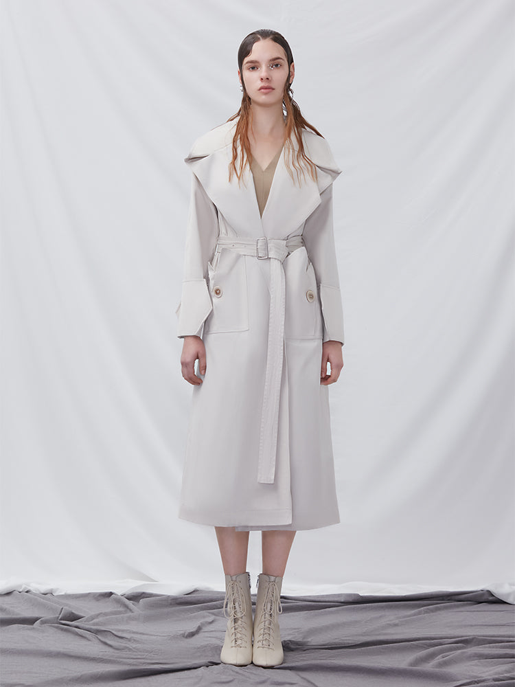 Trench Coat With Geometric Sleeve