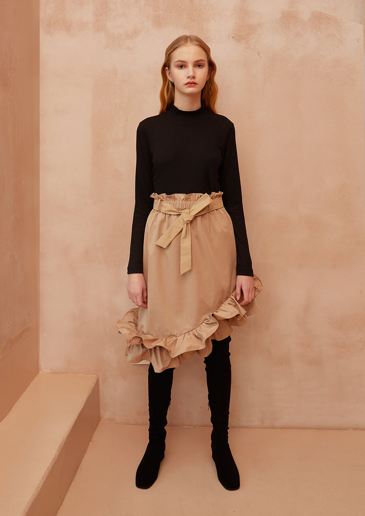 Fashion Boundary Capsule Ruffle Flare Tan Skirt