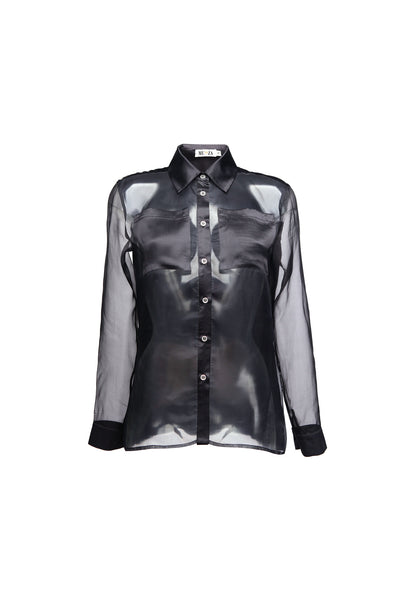 Black silk organza long sleeved shirt