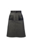 Grey Denim A-line Skirt