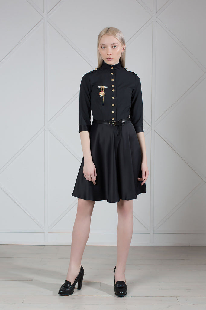 Military Style Wool and Satin Dress