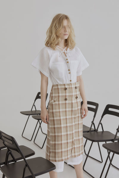 Check Button-up Pencil Skirt