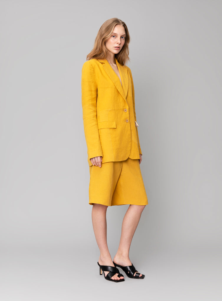 Bright Yellow Linen Blazer
