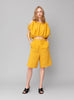 Gathered Bright Yellow Linen Top