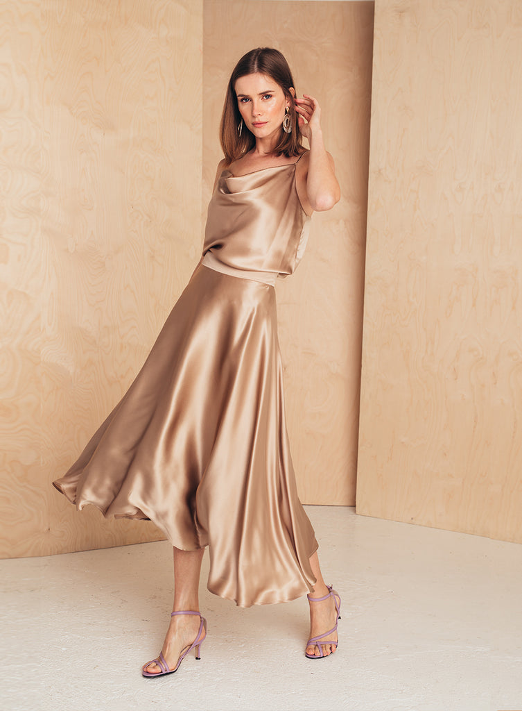 Flattering Silk Midi Skirt Tan