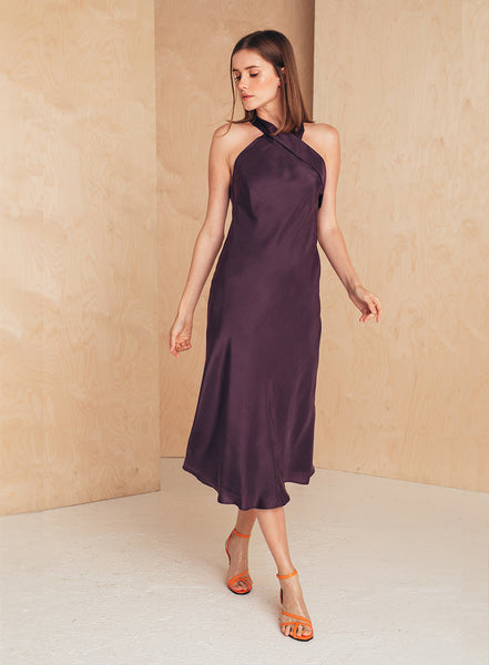 Halter Neck Silk Dress