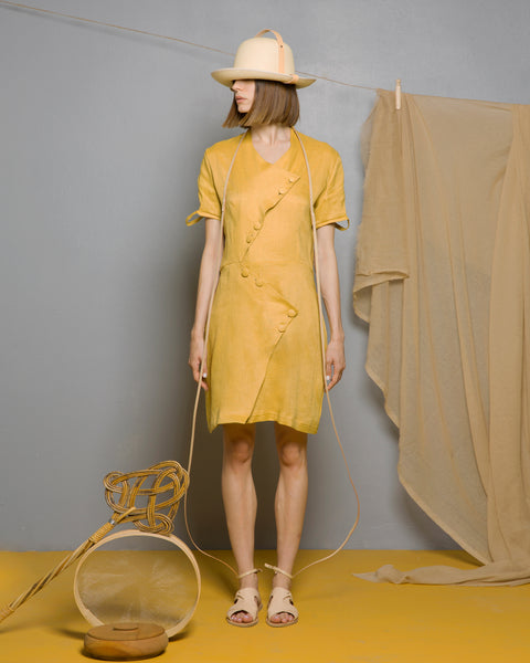 Limonite Ochre Linen Dress