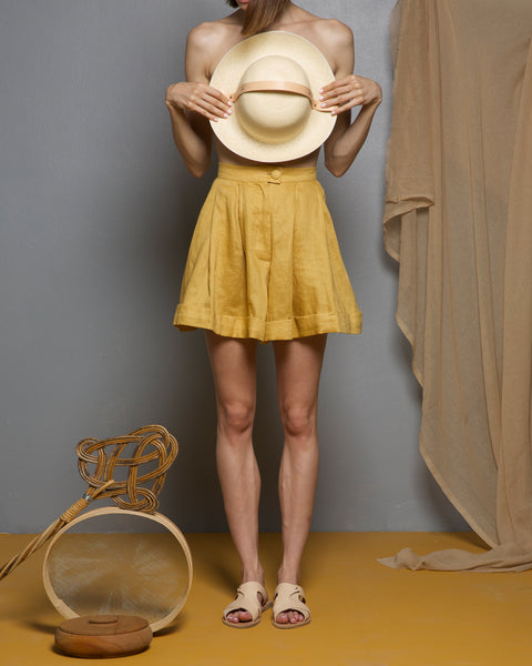 Limonite Ochre Linen Shorts