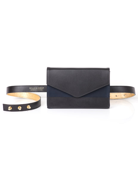 Lenny Chevron Belt Bag Black & Navy
