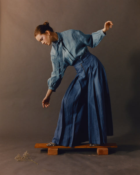 Indigo Blue Pleated Trousers