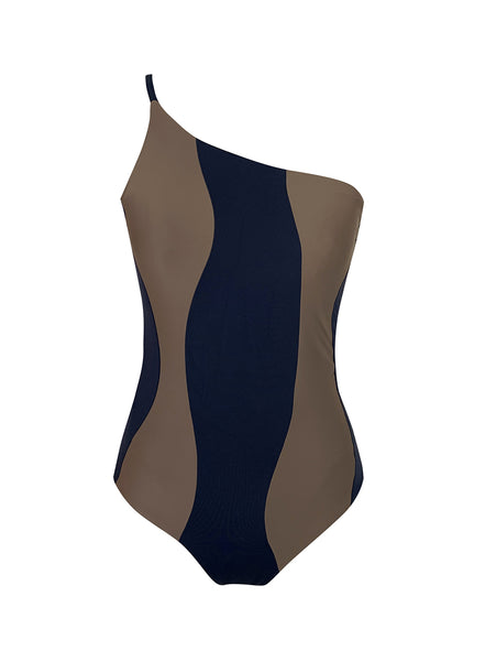 Marbella Reversible One-Piece Navy Taupe