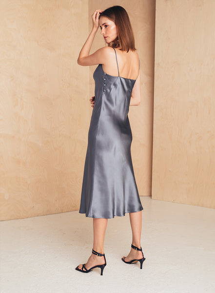Midi Silk Slip Dress Blue Dove