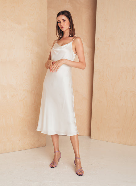 Midi Silk Slip Dress White