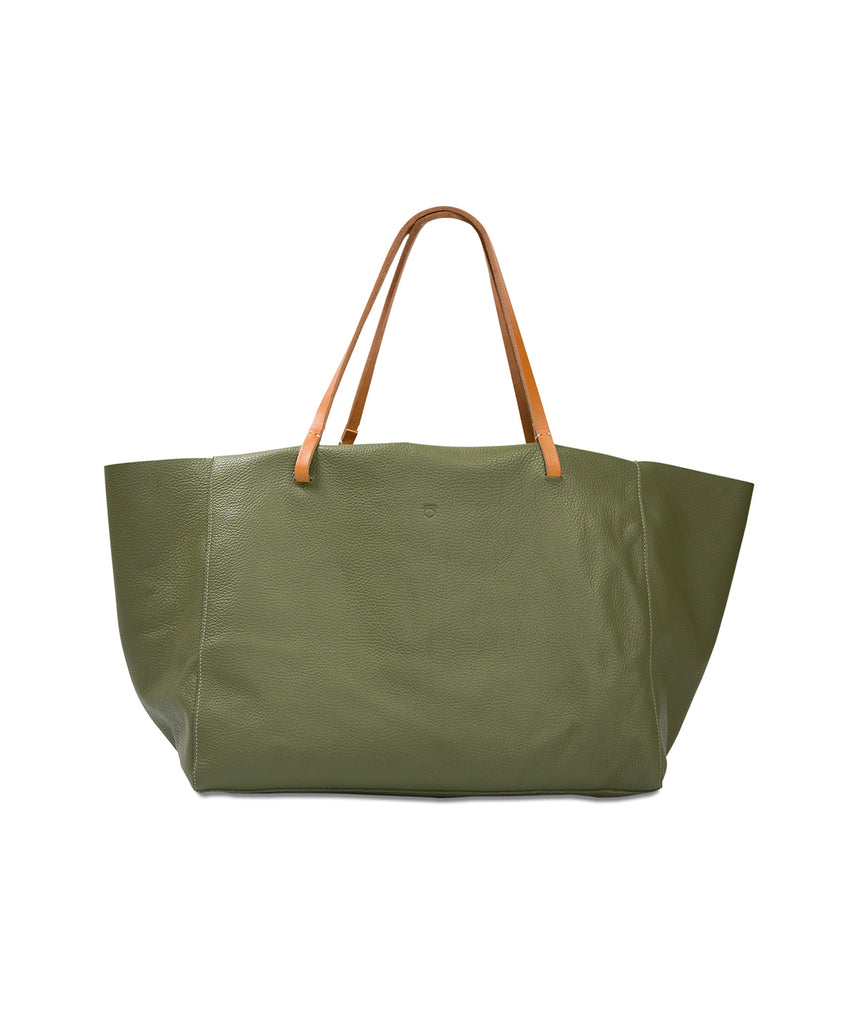 Oversized Tote Olive Leather Bag