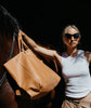 Oversized Tote Tan Leather Bag
