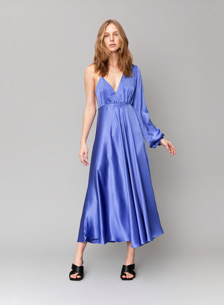 One-Sleeve Silk Satin Dress