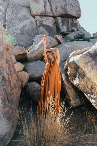 Syros Dress Ochre Earth