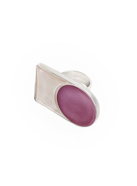 Silver Ring With Rose & Beige Enamel