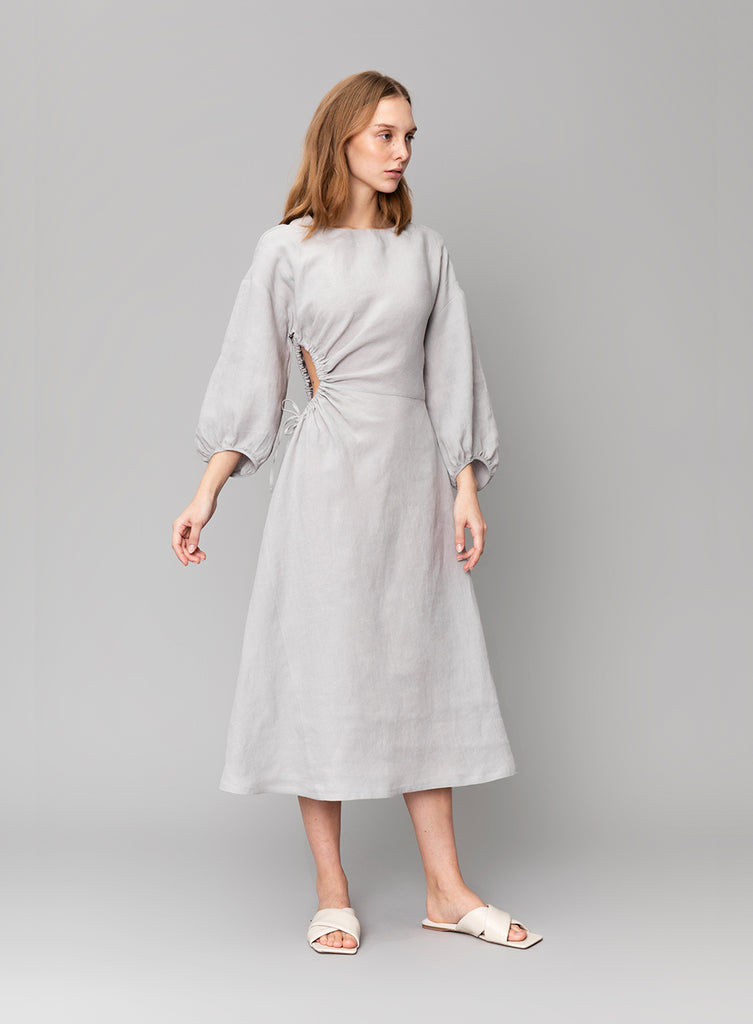 Ruched Grey Linen Dress